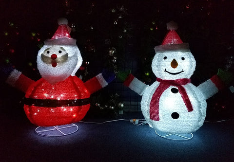 "ESE pre-lit LED Lighted pop-up Santa Snowman, sparkling, Christmas indoor outdoor Decoration , 32""H"