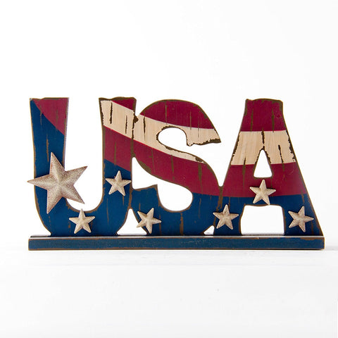"ESE Wood Sign ""USA"" , table stand, 12"""