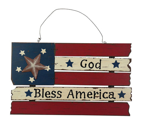 ESE Patriotic American Flag Wooden Wall Decor Hanging Sign, 20""