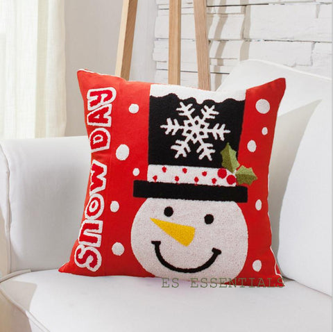 Canvas Cotton Embroidery Pillow case Christmas Decor. Pillowcase Square 18""