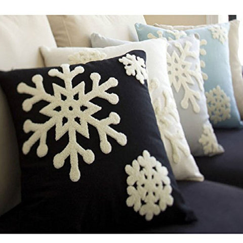 Canvas Cotton Embroidery Pillow case Christmas Decor. Snowflakes 18""