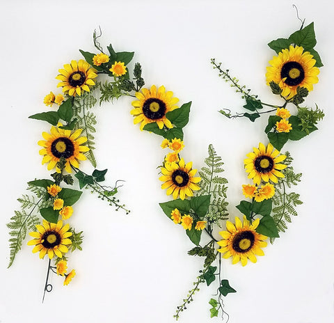 "72"" Sunflower garland,  mixed with fern & berry"