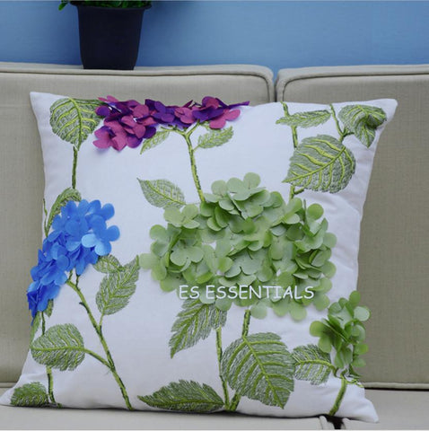 Embroidered Cotton Linen Decorative Pillow case Spring flower