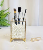 Elegant Glass Makeup Comestic Organizer , Brush Holder, plastic pearls included