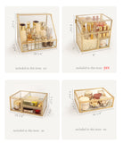 Elegant Elegant Glass Makeup Comestic Organizer , Brush & Lipsticker Holder, plastic pearls & acrylic lipsticker divider included