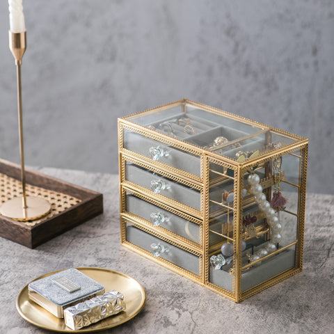 Elegant Glass Jewelry Box Organize with Removable Velvet Drawer Tray