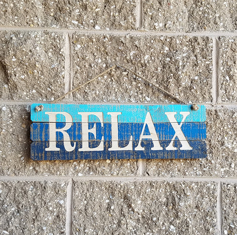 "ESE Wooden Beach  Sign "" Relax"", 18.5"""