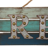 "ESE Wooden/Galvanized Metal Beach Rope Sign "" Relax"", 17.95"""