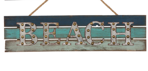 "ESE Wooden/Galvanized Metal Beach Rope Sign "" Beach"", 17.95"""