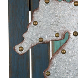 "ESE Wooden/Galvanized Metal Seahorse Wall Decor nautical, 18""H"