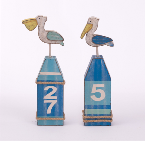 "ESE Handcrafted Wooden nautical Pelican Décor 12"", 2 ASST."
