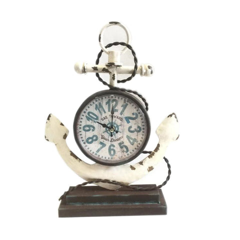 Nautical Vintage Metal Anchor Wall Clock, table clock