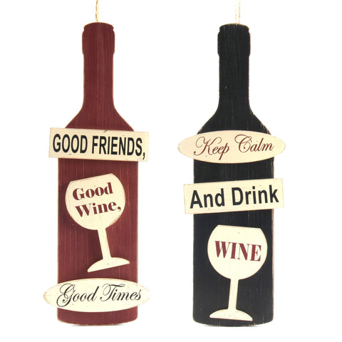 ESE Wooden Bottle Hanging Sign  good friends good  keep calm and drink