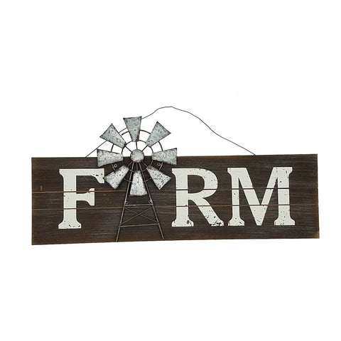 ESE Wood wall décor with metal windmill-FARM