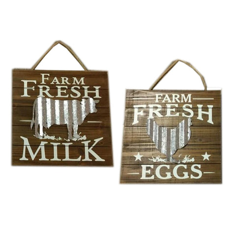 Wood wall décor decorated metal cow-Fresh milk  Fresh eggs