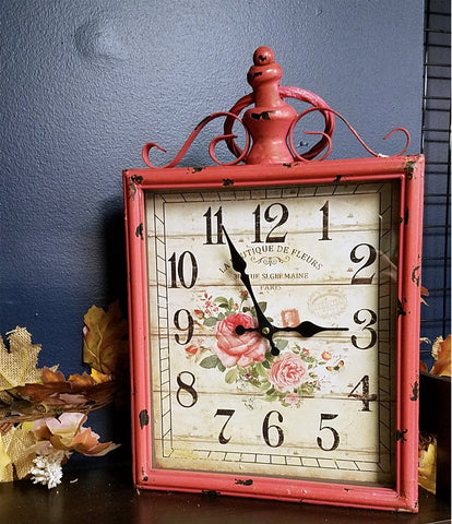 Metal table clock-RED