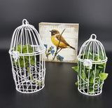 Metal Birdcage hanging ornament, 2 ASST.