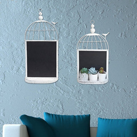 Metal Birdcage Chalkboard Wall Decoration, 2 asst.