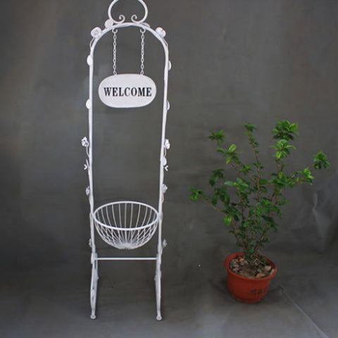 Metal welcome planter stand