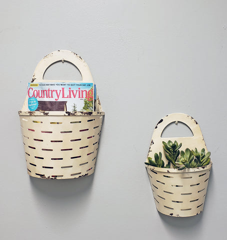Metal Buckets Wall Storage Organizer with Wall Basket (Set of 2)