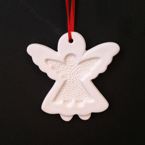 Christmas DIY White Ceramic Ornaments  Angel, 12 pcs