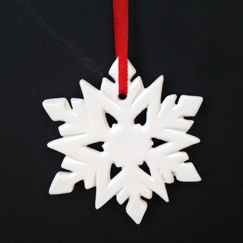 Christmas DIY White Ceramic Ornaments  Snowflakes, 12 pcs