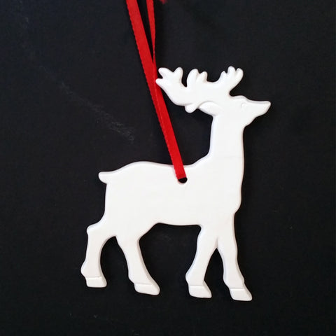 Christmas DIY White Ceramic Ornaments Deer, 12 pcs