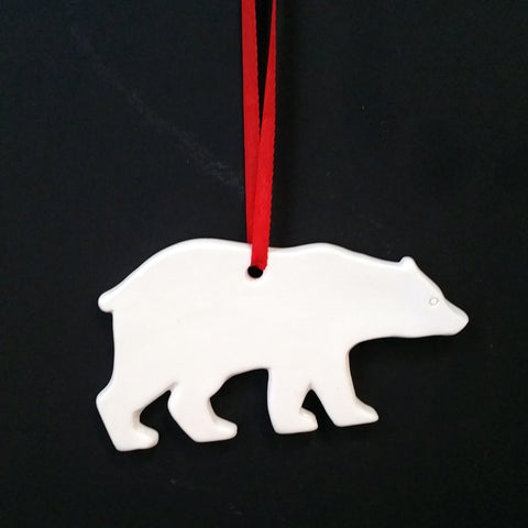 Christmas DIY White Ceramic Ornaments Bear, 12 pcs