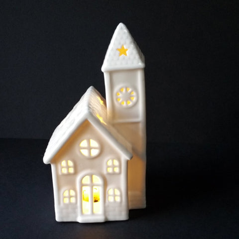 LED Lighted Ceramic House