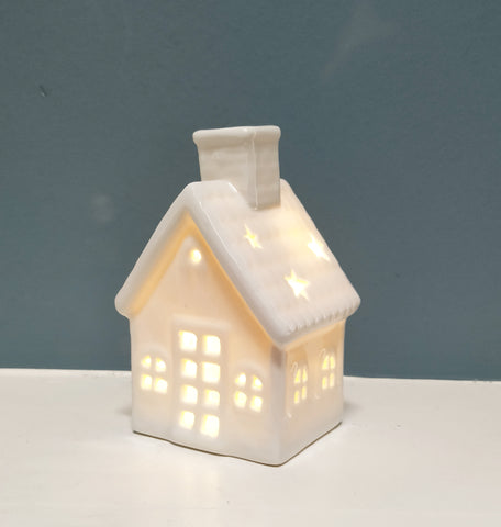 LED Lighted Christmas Ceramic House White 4.35""
