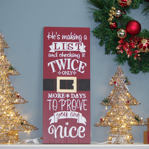 Christmas Wood Sign Count Down Red With Chalk Board 23 5