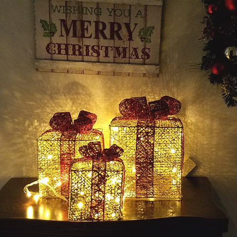 LED Lighted pre-lit Christmas decor. Presents Gift Boxes Sparkling, Gold,  Set of 3pcs