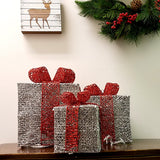 "LED Lighted Christmas presents Gift Boxes, sparkling, Silver Set Of 3  6"" 8"" 10"""
