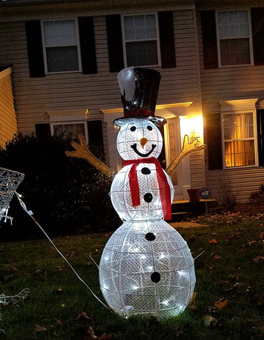 "LED Lighted 3-D Snowman 48""H , Sparkling, black hat, Christmas indoor or outdoor garden decoration"