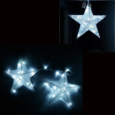 ESE LED Lighted Christmas pre-lit 3-D Hanging twinkle star, Sparkling, Silver 23.5""