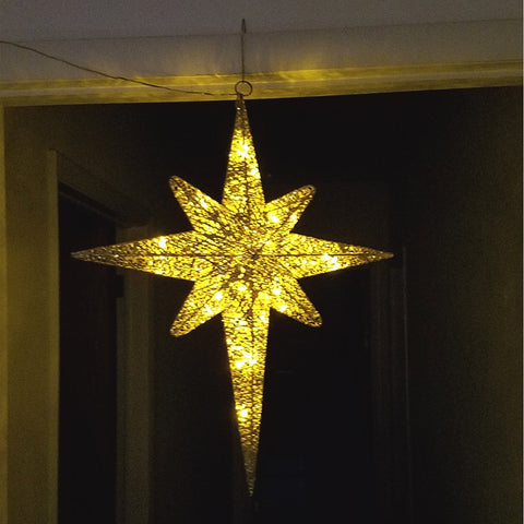LED Lighted Christmas Moravian Star, sparkling, Gold, 24""