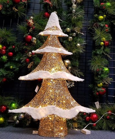 Essential Christmas Decorations.Ese Led Lighted Pre Lit Snowy Flocked Tree Sparkling Christmas Decoration Gold 40 H