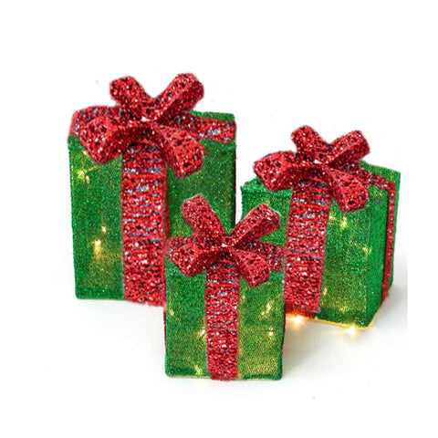 led lighted gift box - Lighted Gift Boxes Christmas Decorations