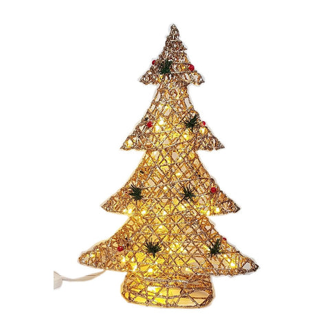 "LED Lighted pre-lit Farm Tree, decorated with berries, Christmas decorations, Table top Gold 24"" & 16"""