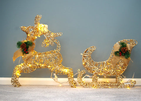 "LED Lighted pre-lit Reindeer and Sleigh set, Gold, Christmas Decoration,  20"" Tall"