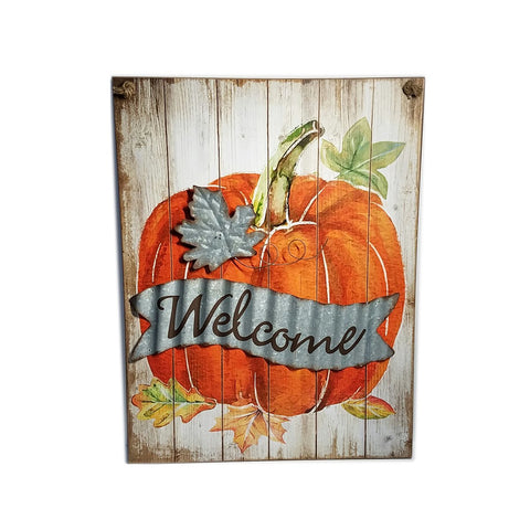 "ES Essentials fall Fall Sign Thanksgiving Pumpkin wooden sign wall art decor. ""welcome"""
