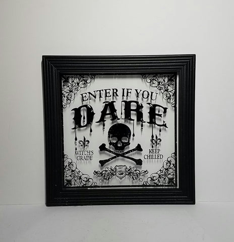 Halloween Wood Sign, Wall decor, wood frame sign with painting on glass 'enter if you dare'