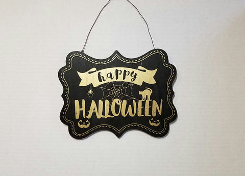"Halloween Wood Sign wall decor, silkscreen gold letter ""eat drink & be scary"" ""happy halloween"""