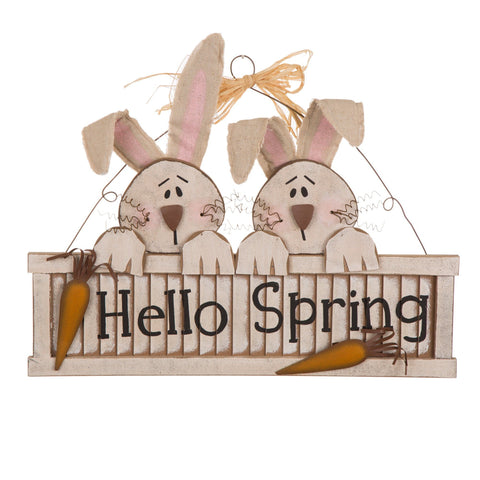 "ESE Wooden Bunny Shutter Wall Sign "" Hello Spring"" wall/door hanging, 17-3/4"""