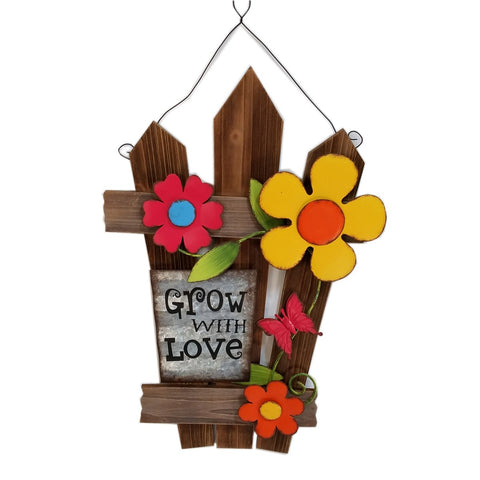 Wood  wall décor with flowers-Grow with Love