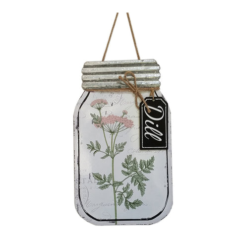 Metal  mason jar shape wall décor with e flower- Dill