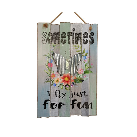 SPring cute Wood wall décor 'fly for fun'