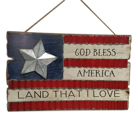 Patriotic Wood USA American flag sharp wall décor with metal star, 18.5""
