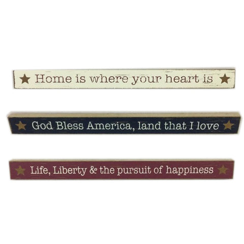 Patriotic Wood table top Set of 3