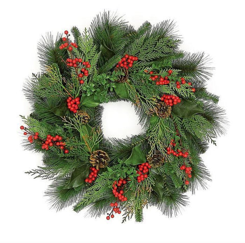 Christmas Wreath mix with berry berries & pine cone, 24""